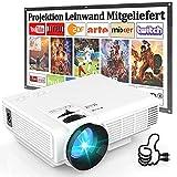 Beamer HI-04 Mit 100 Zoll-Leinwand, 7000 Lumens Beamer Full HD 1080P Unterstützt, Mini Video...