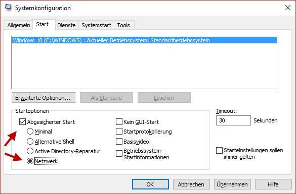 Windows 10 im abgesicherten Modus starten lassen