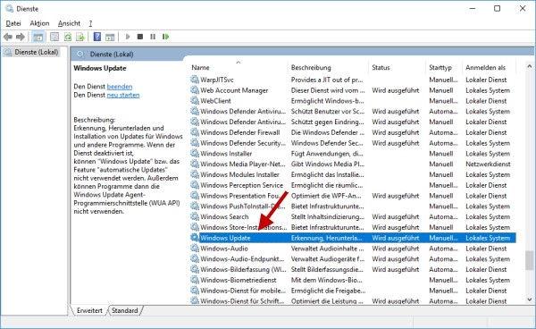 Automatische Updates deaktivieren bei Windows 10 Dienste Verwaltung