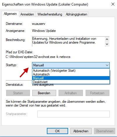 Starttyp Dienst Windows Update festlegen