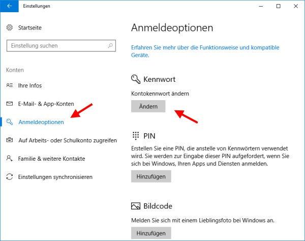 Benutzer Passwort ändern - Kennwort ändern