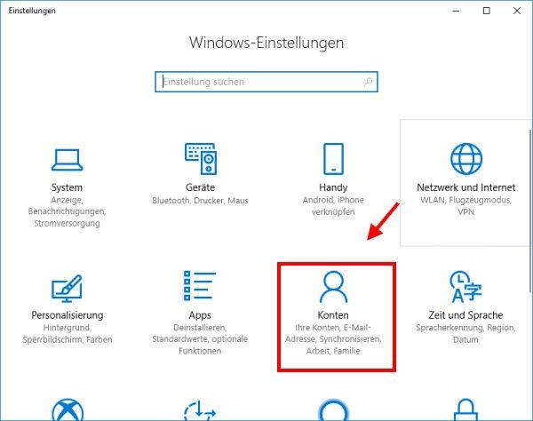Windows-Einstellungen Konten öffnen