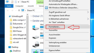 Festplatte formatieren - Laufwerk auswählen