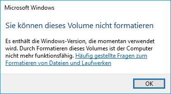 Windows kann dieses Volume nicht formatieren