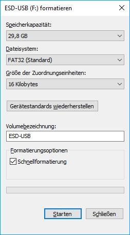 Festplatte formatieren - Einstellungen festlegen
