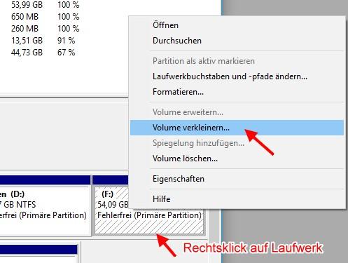 Festplatte partitionieren - Laufwerk verkleinern