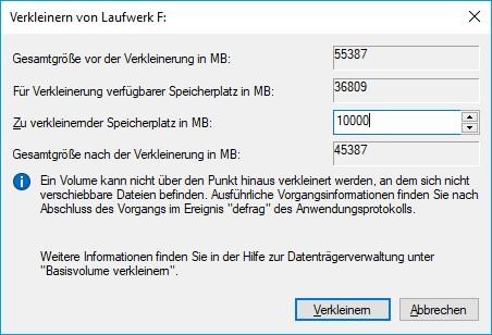 Festplatte partitionieren neue Größe festlegen