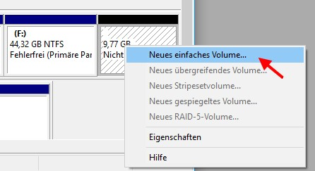 neues einfaches Volume erstellen