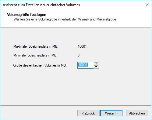 Festplatte partitionieren - Größe für das neue Laufwerk