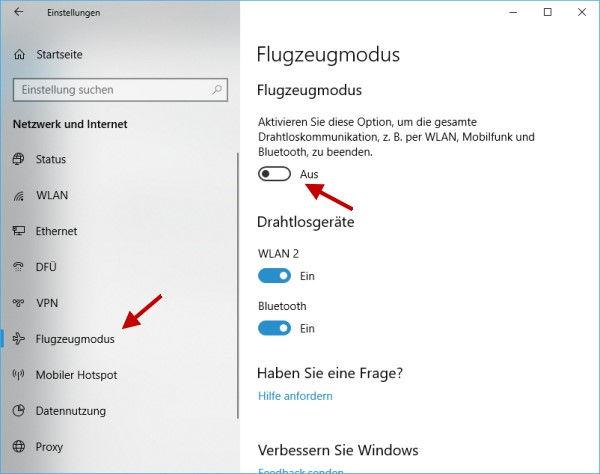 Flugzeugmodus aktivieren oder deaktivieren bei Windows 10