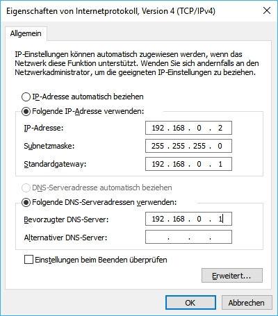 IP-Adresse manuell festlegen