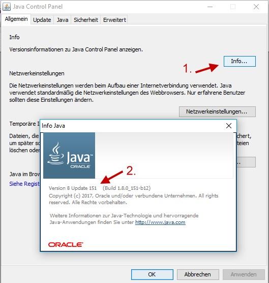 installierte Java Version ermitteln und anzeigen