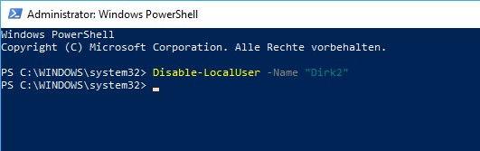 Benutzerkonto deaktivieren über Windows PowerShell