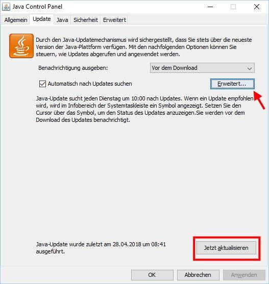 Java Control Panel manuell Java Updates suchen und installieren