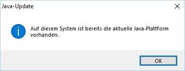 Meldung keine neuere Java Version zu finden