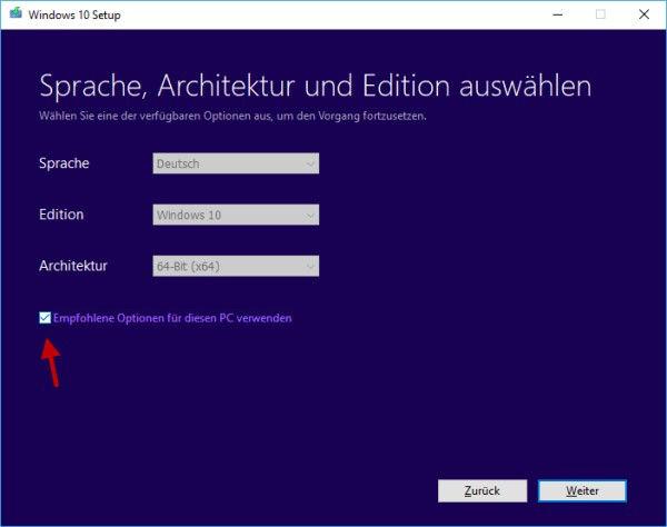 Auswahl von Sprache und Windows-Version