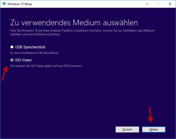 USB-Stick oder Windows 10 ISO-Datei erstellen