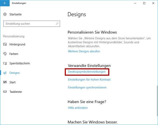 Desktopsymboleinstellungen anpassen