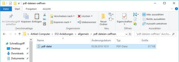 PDF Datei im Windows Explorer