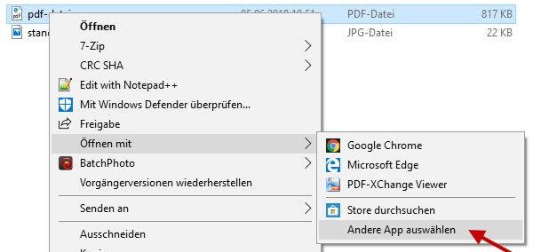 PDF Dateien mit anderem Programm öffnen