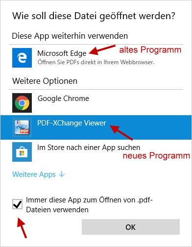 PDF Dateien öffnen Standardprogramm festlegen