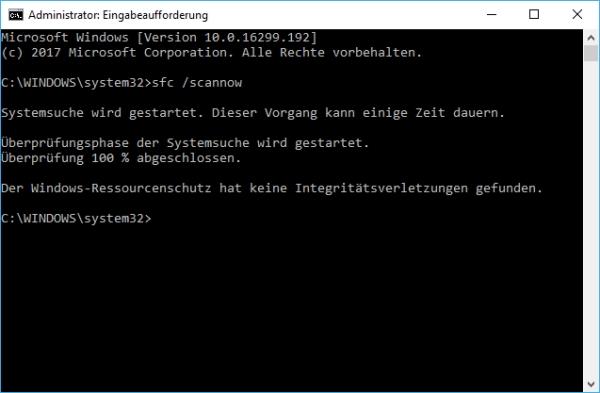 Überprüfung der Systemdateien bei Windows beendet