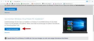 Media Creation Tool Webseite für Download