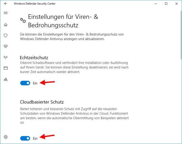 Windows 10: Defender aktivieren oder deaktivieren