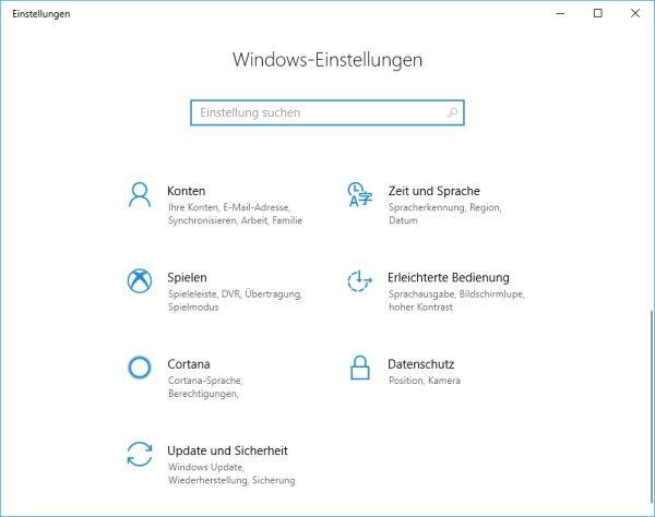 Windows-Einstellungen geöffnet