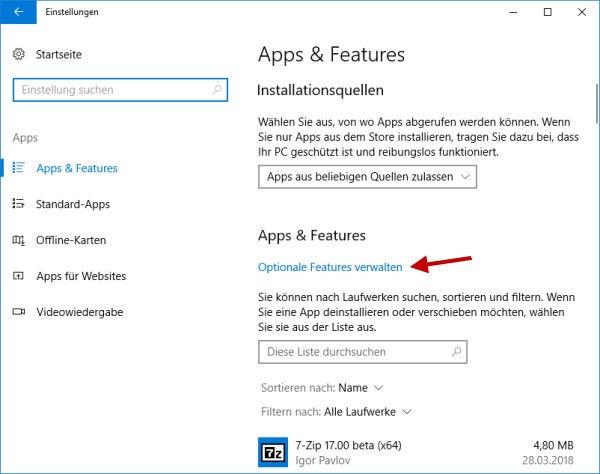 Fenster optionale Features verwalten öffnen