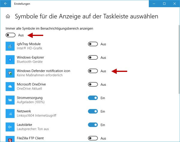 Windows Defender Icon ausblenden oder einblenden