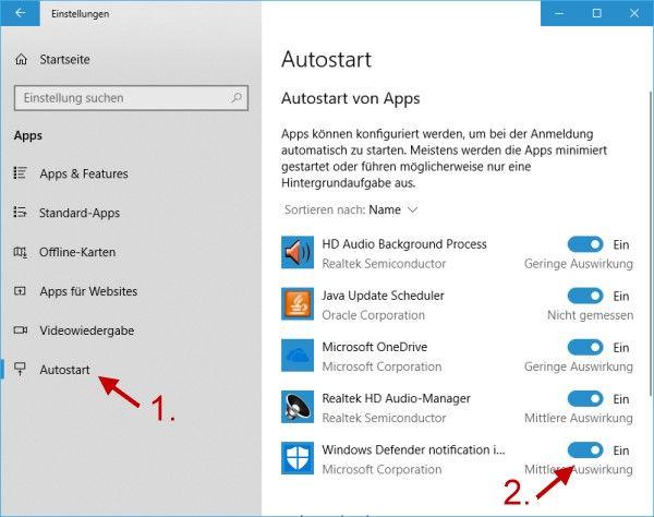 Windows Defender Icon über Windows Einstellungen aktivieren oder deaktivieren