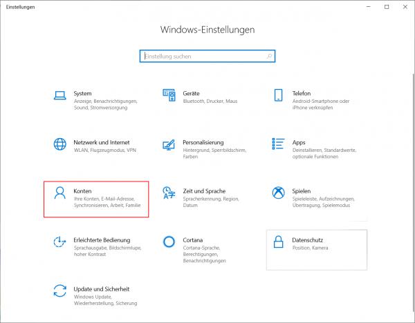 Benutzerkonto löschen über Windows Einstellungen