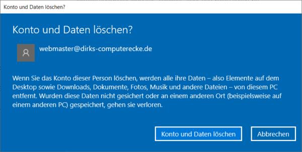 Benutzerkonto löschen bei Windows 10