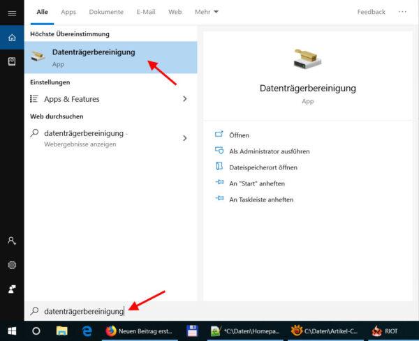Datenträgerbereinigung in Windows 10 öffnen