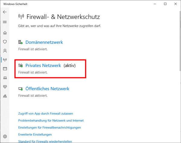 Auswählen, welche Firewall deaktiviert werden soll