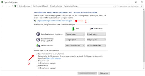 Schnellstart aktivieren oder deaktivieren bei Windows 10