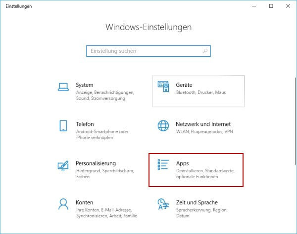 Windows-Einstellungen - Apps