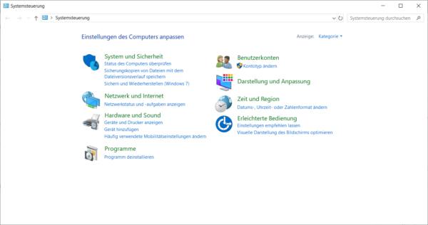 Systemsteuerung bei Windows 10