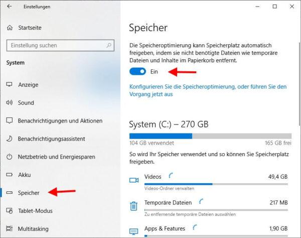 Temporäre Dateien automatisch löschen Speicheroptimierung aktivieren