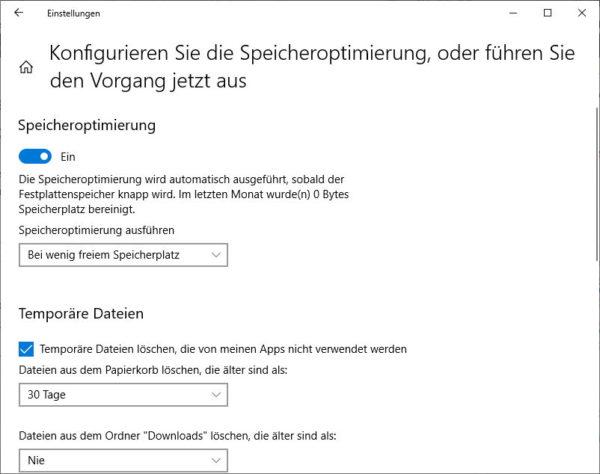 Speicheroptimierung anpassen - wann sollen temporäre Dateien gelöscht werden