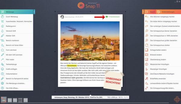 Screnshot der Benutzeroberfläche von Ashampoo Snap 11