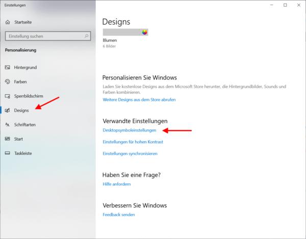 Einstellung für Windows Design personalisieren
