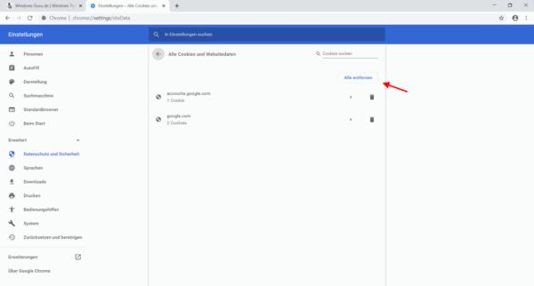 einzelne oder alle Cookies löschen im Google Chrome