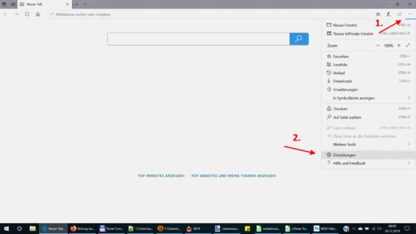 Einstellungen beim Microsoft Edge öffnen