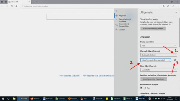 Startseite in Microsoft Edge ändern