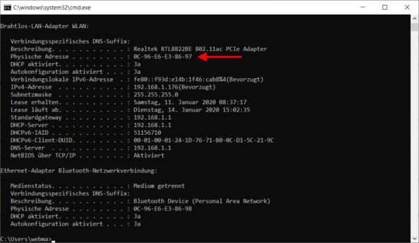 MAC-Adresse über CMD angezeigt
