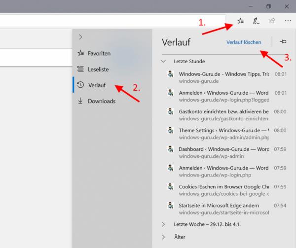 Microsoft Edge Browserverlauf löschen