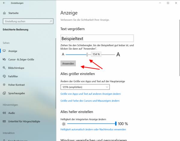 Schriftgröße ändern bei Windows 10