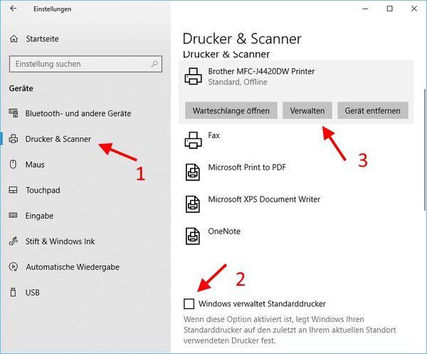 Drucker und Scanner verwalten